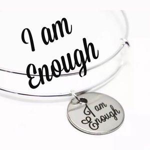 I am enough adjustable silver bracelet NEW